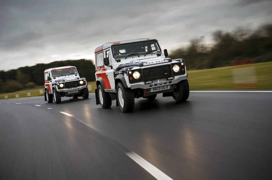 Land Rover Defender Challenge on track