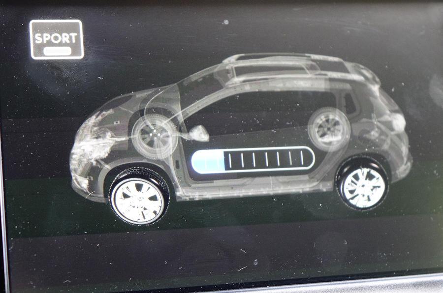 Peugeot 2008 Hybrid Air prototype energy monitor