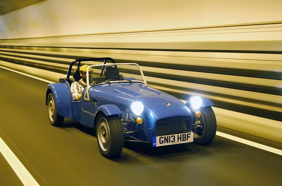Caterham 160's dipped-beamed headlights