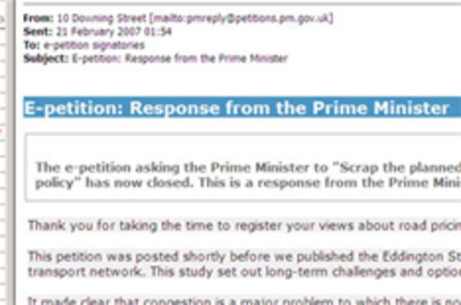 PM's reply to road-charging petition