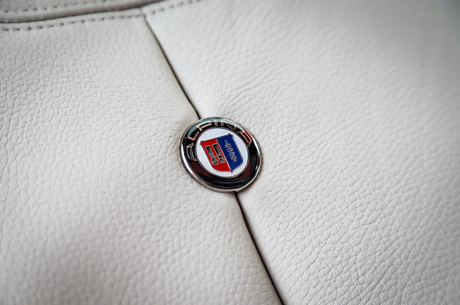 Alpina badges in D4's leather seats