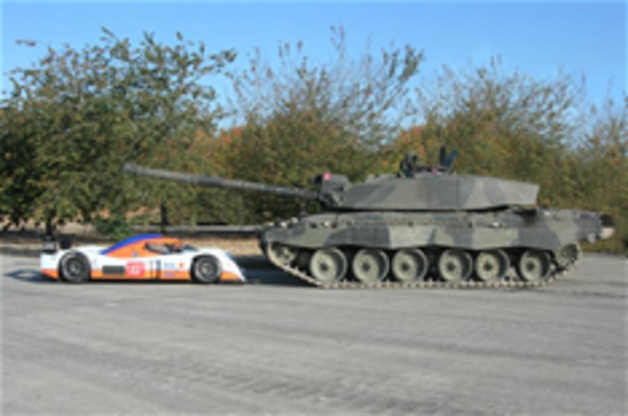Aston Martin LMP1 meets a tank