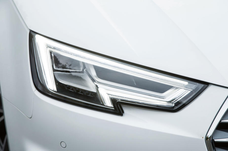 The Audi A4 has arrowhead style LED day running lights, with the dipped beam resembling an eye