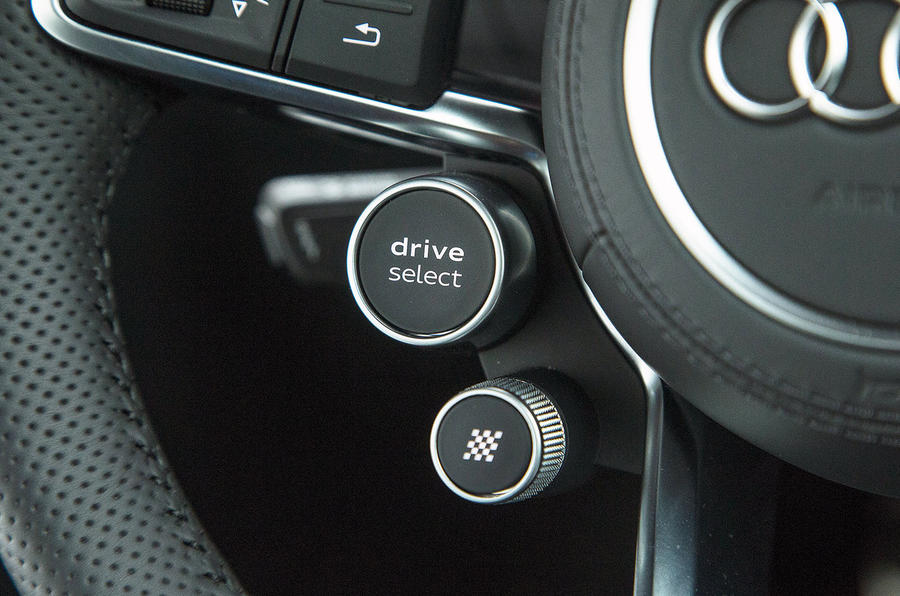 The driver select and launch control buttons on the Audi R8