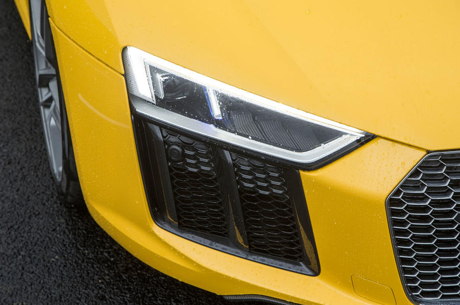 The Audi R8's headlights are all LED with laser technology