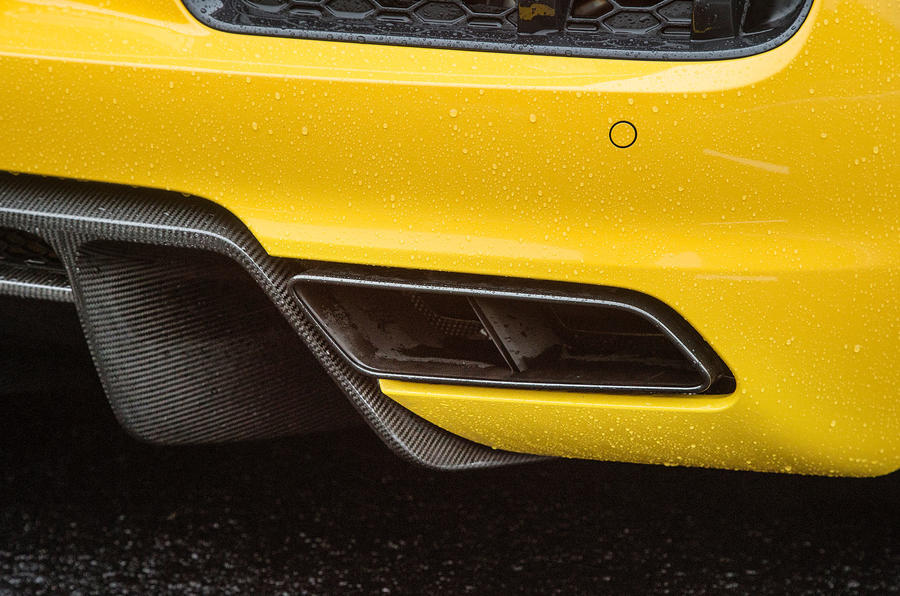 The Audi R8 comes with dual tailpipes