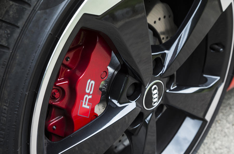 Red brake calipers on the Audi RS3
