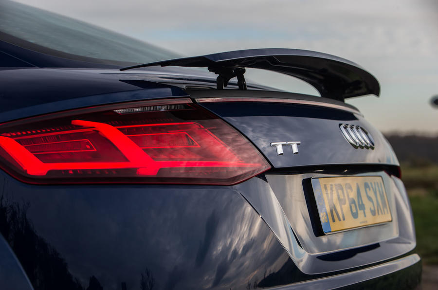 A narrow strip of LEDs integrated into the metalwork is the third brake light on the Audi TT