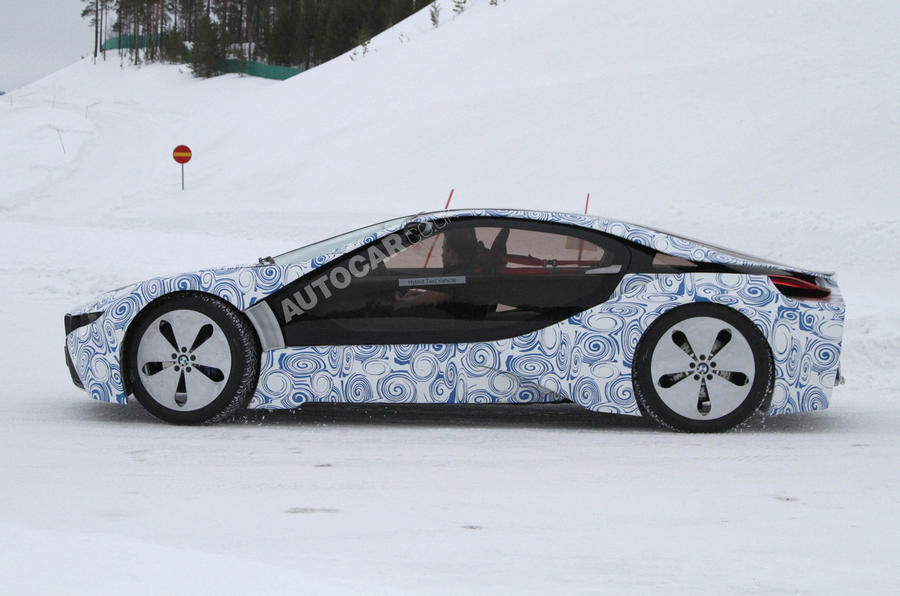 New BMW i8 supercar scooped