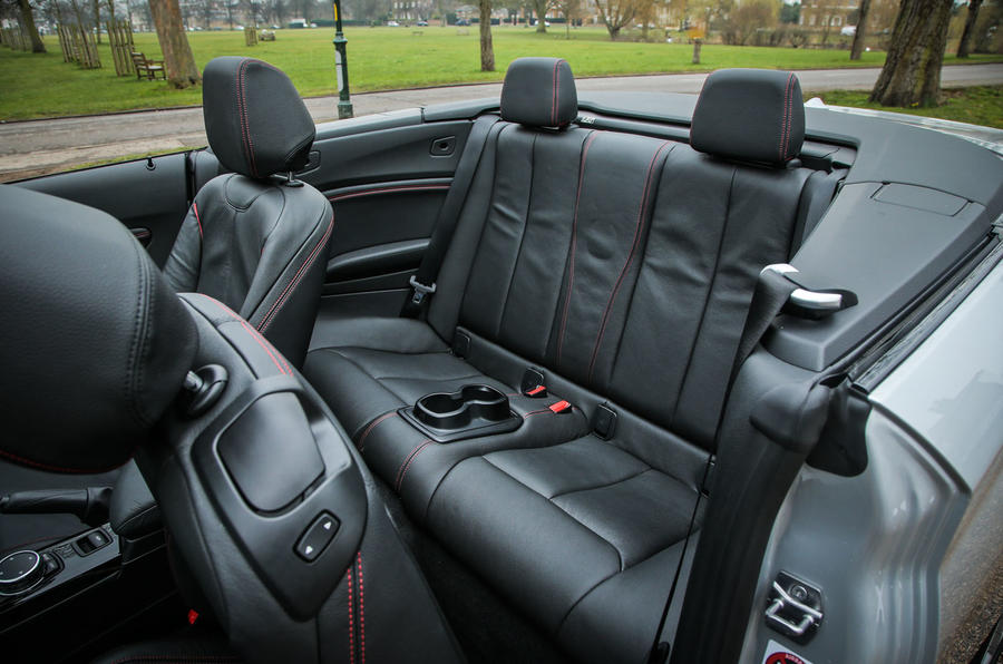 The rear seats of the BMW 2 Series convertible