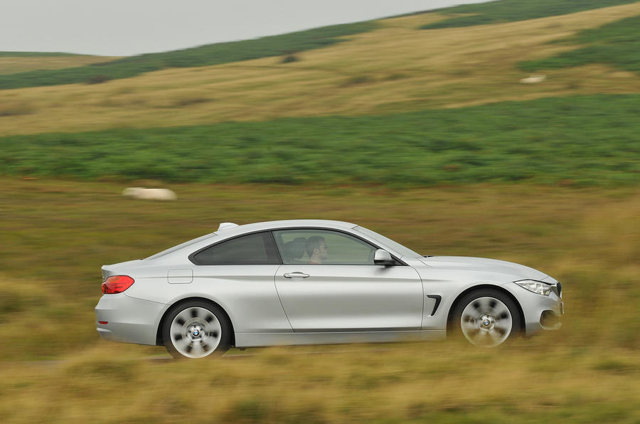 BMW 4-series 420d 2013 UK review side profile