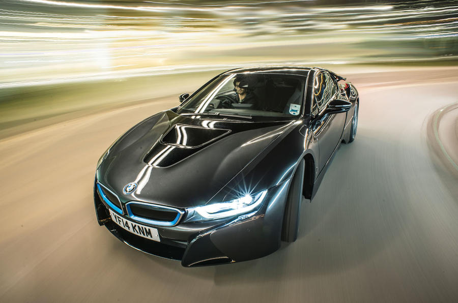 BMW i8 hard cornering