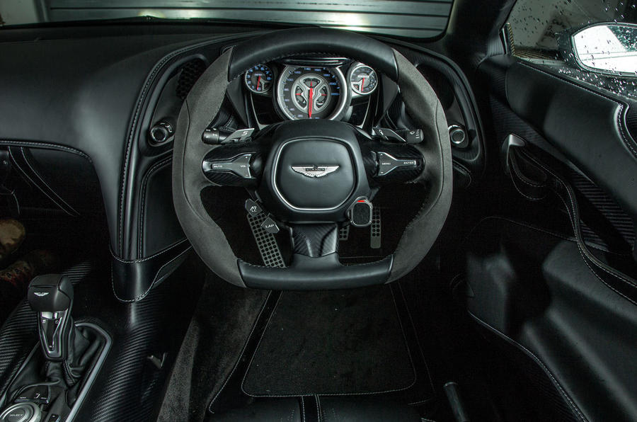 The well-designed Aston Martin DB10 steering wheel