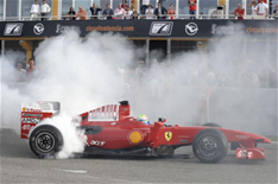 Massa drives 2009 Ferrari F1 car