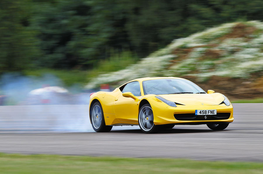 Ferrari 458 hard cornering