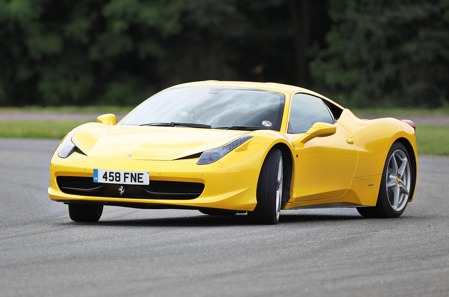 Ferrari 458 hard cornering