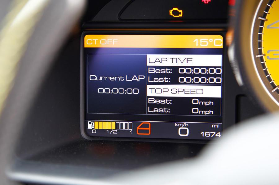 Ferrari 458 Speciale information screen