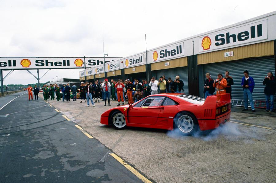 Ferrari F40 in the pit lane