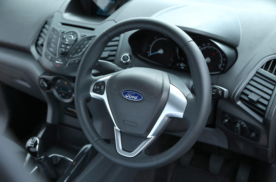 The steering wheel of the Ford EcoSport