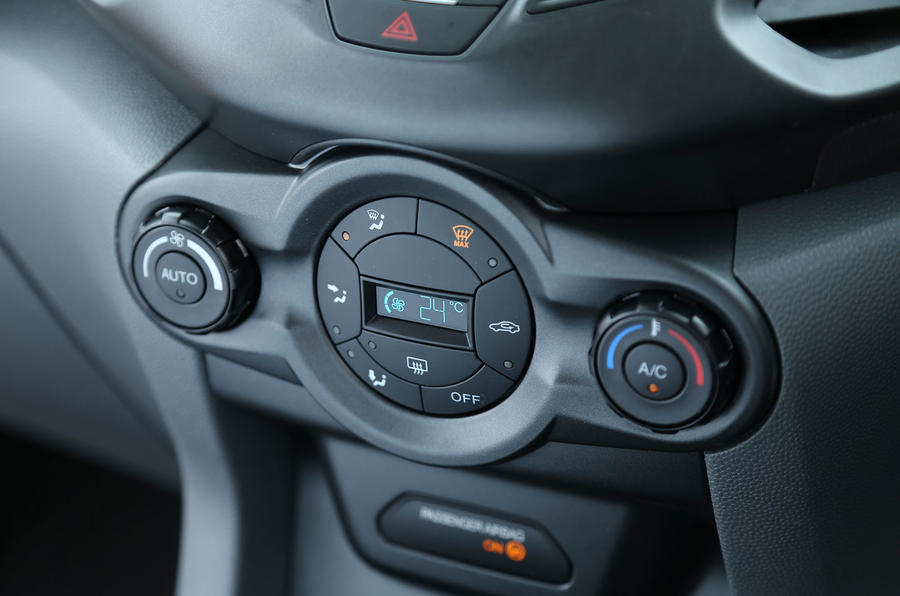 The climate control switchgear on the Ford EcoSport