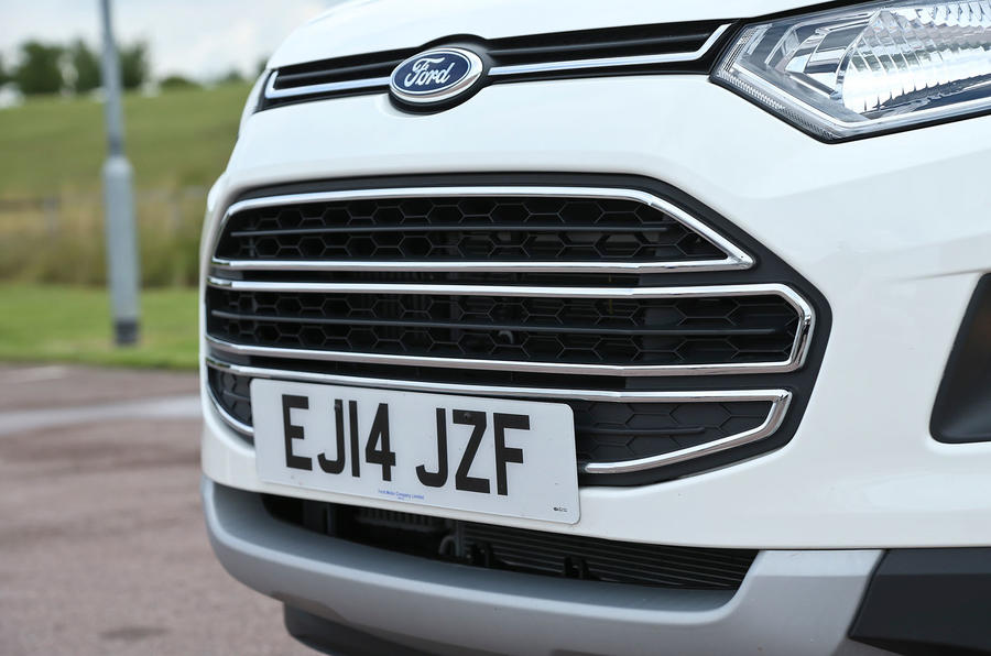 The chrome-barred grille is the Ford EcoSport's distinguishing feature