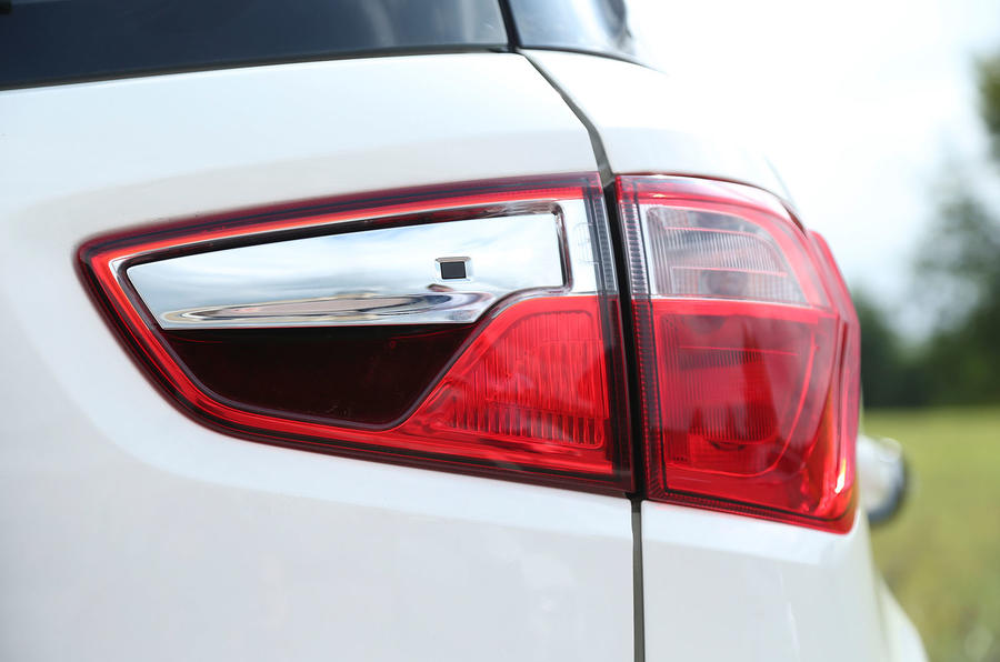 The Ford EcoSport's handle is hidden in the rear light cluster
