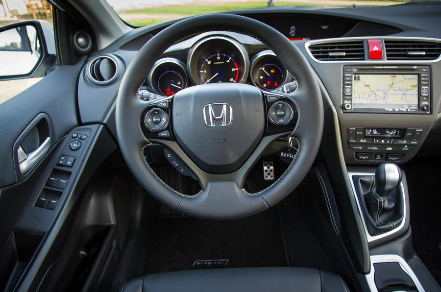 The view from the driver's seat of the Honda Civic
