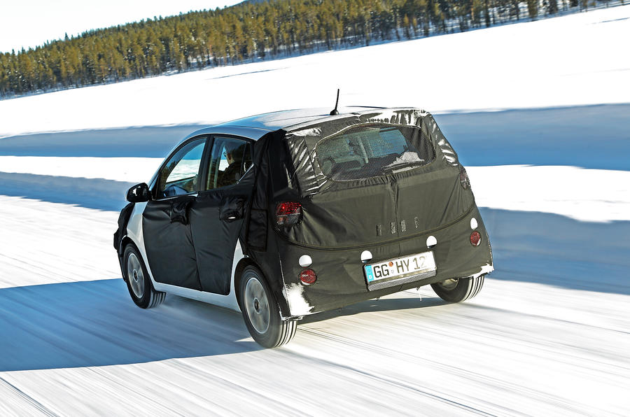 Hyundai i10 prototype on snow
