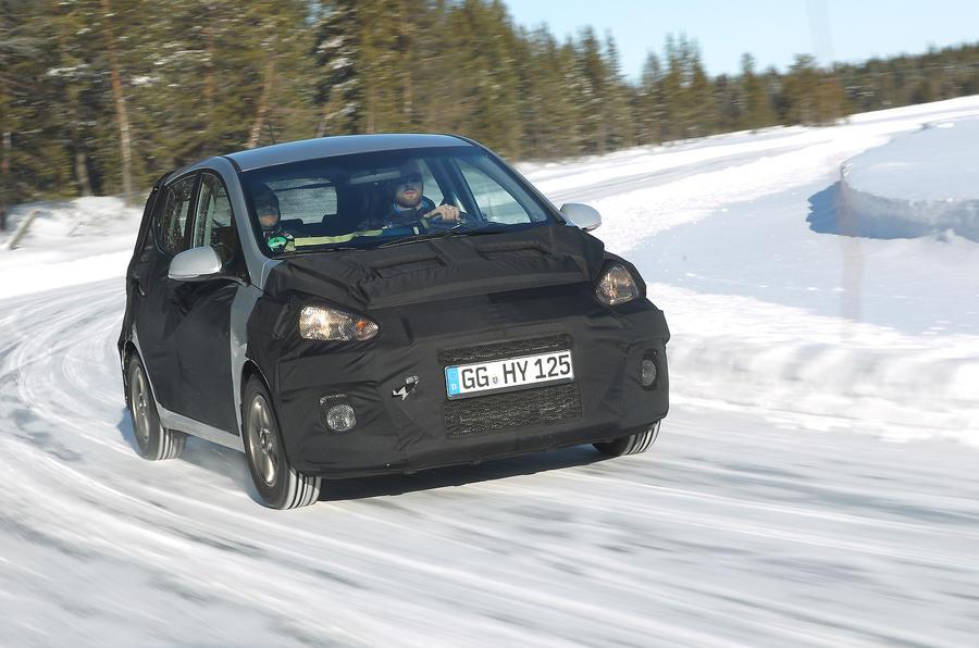 Hyundai i10 prototype cornering