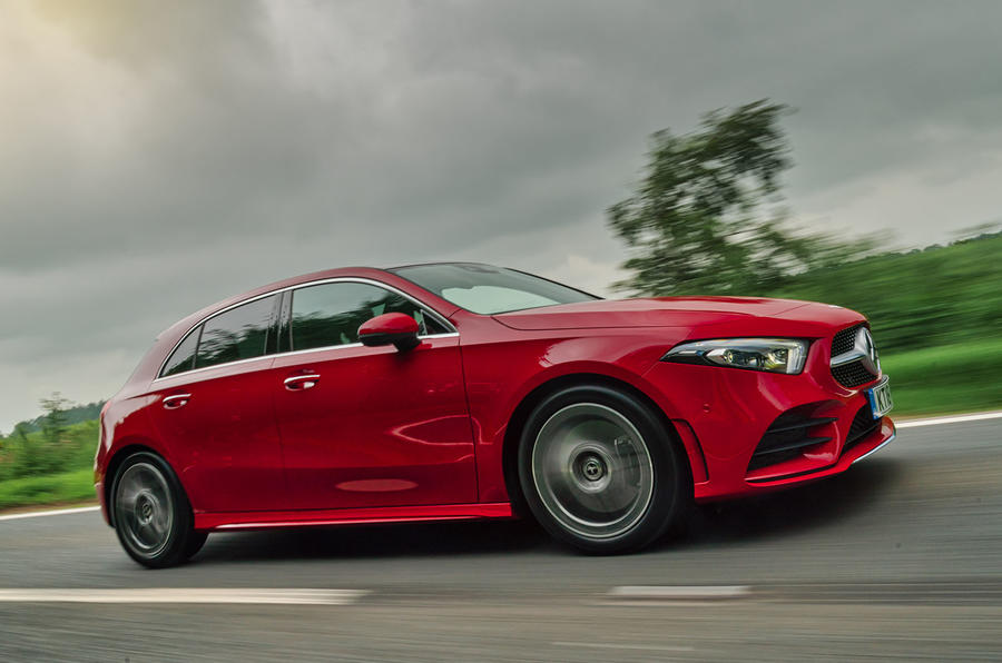 Mercedes-Benz A-Class A250 2018 UK review on the road side