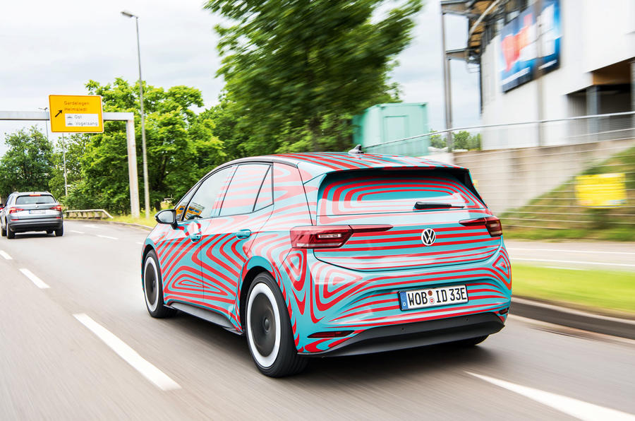 Volkswagen ID 3 2020 prototype review - on the road rear