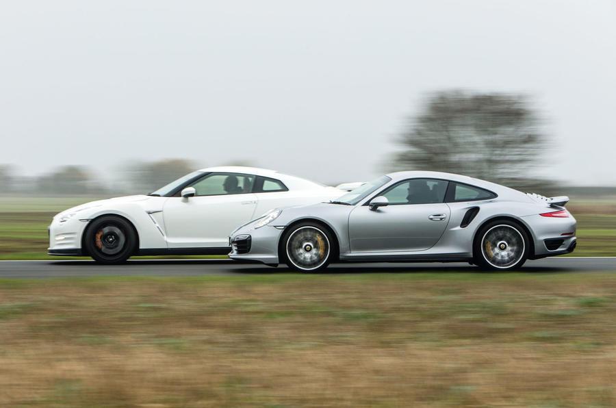 Porsche 911 and Nissan GT-R