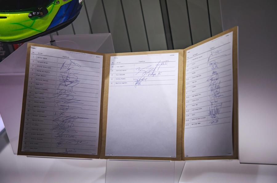 Silverstone museum signature book