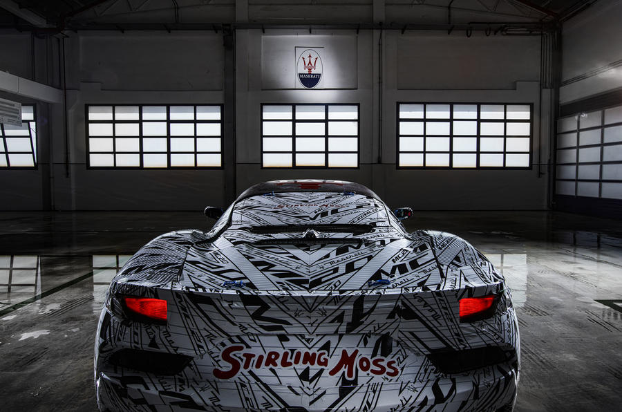 2020 Maserati MC20 development mule with Stirling Moss livery