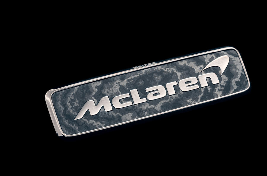 The badge of the McLaren Speedtail