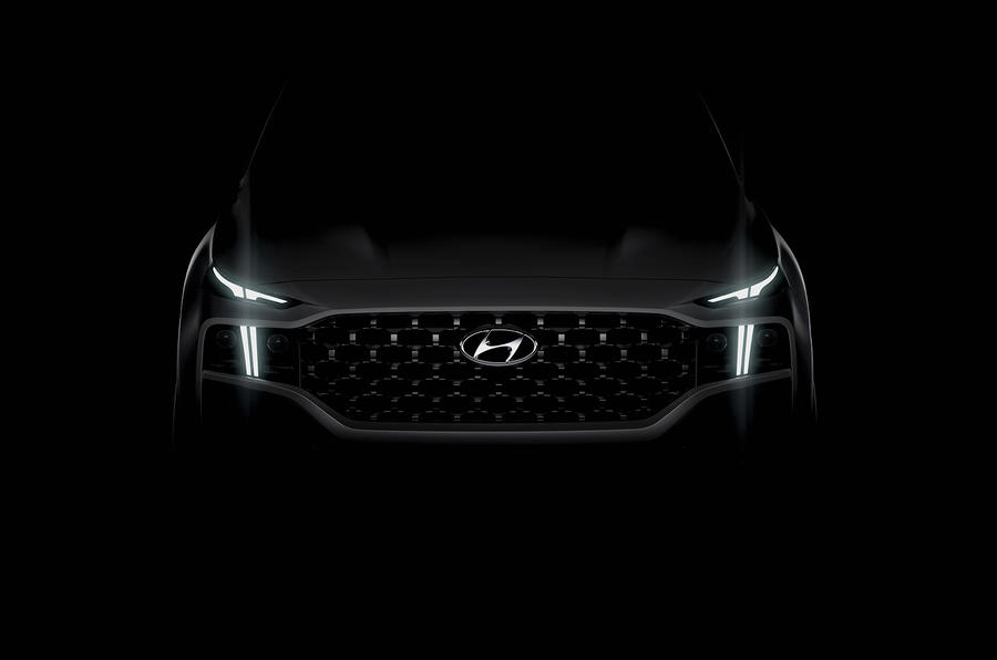 Hyundai Santa Fe teased, hybrid powertrains in-bound