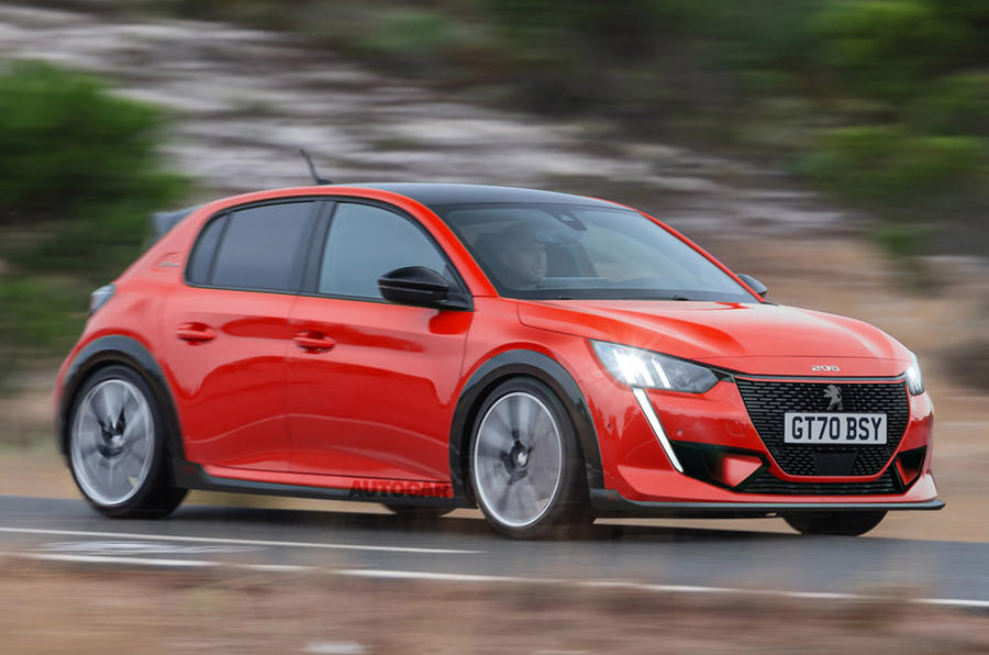 Peugeot e-208 GTi render 2020 - tracking side