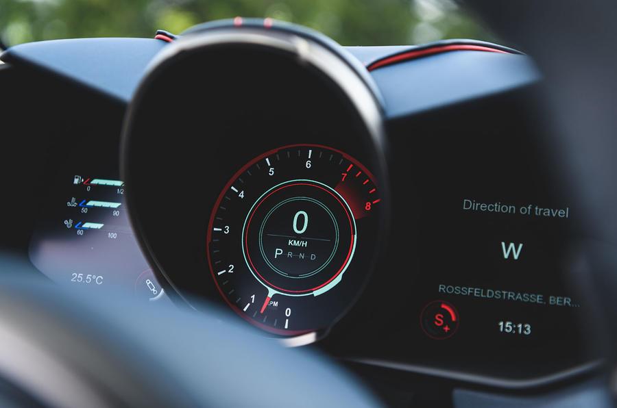 Aston Martin DBS Superleggera 2018 first drive review instrument cluster