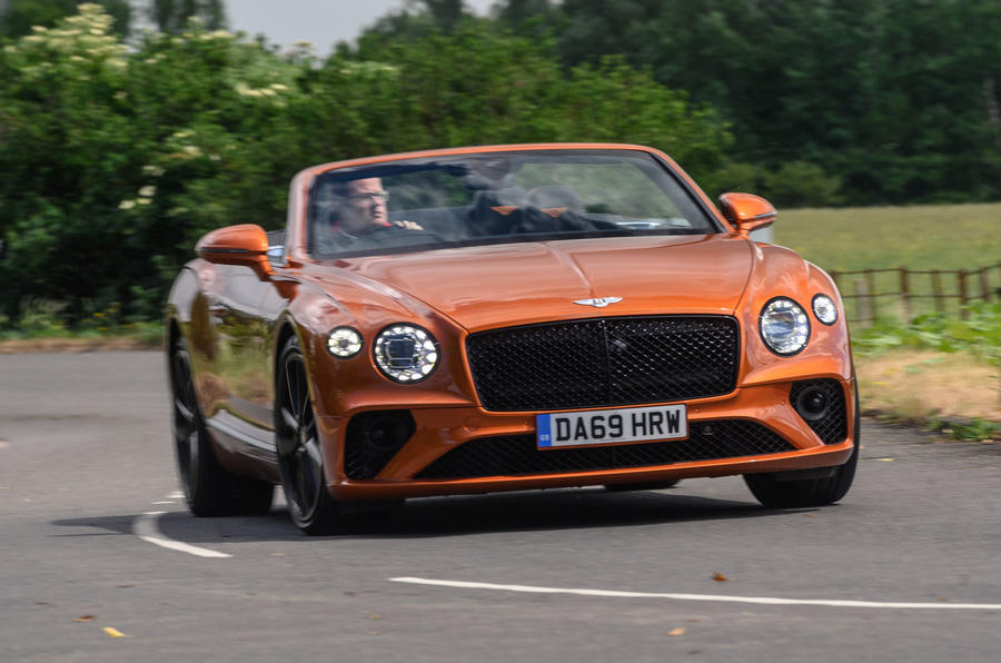 Bentley Continental GT Convertible V8 2020 UK first drive review - on the road nose