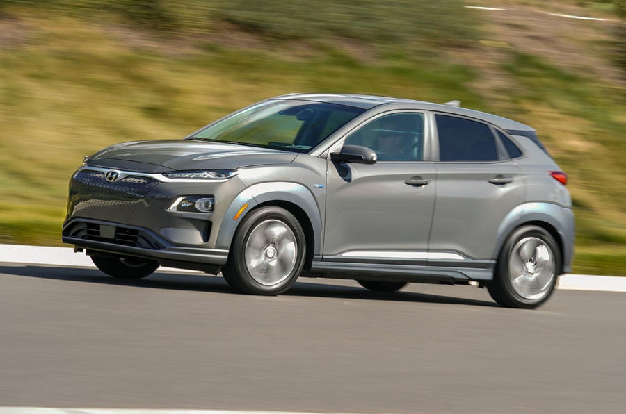 Hyundai Kona Electric 2018 first drive review on the road side