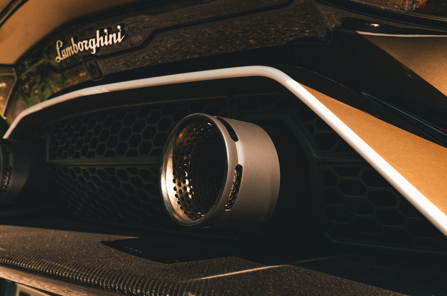 Lamborghini Aventador SVJ Roadster 2019 first drive review - exhaust