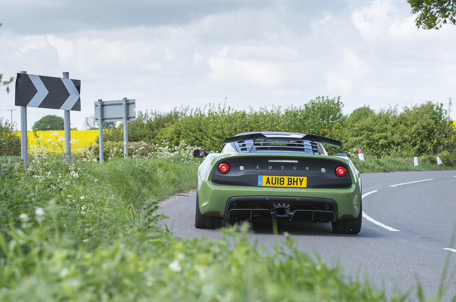 Lotus Exige Sport 410 2018 review on the road rear