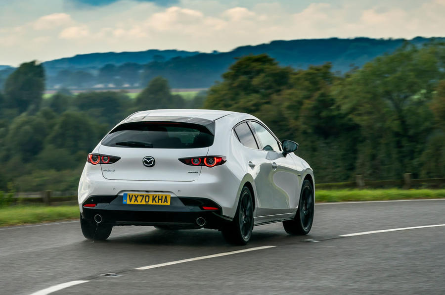Mazda 3 100th Anniversary edition 2020 UK first drive review - cornering rear