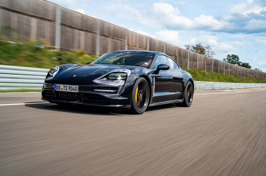 Porsche Taycan 2020 first drive review - track driving front