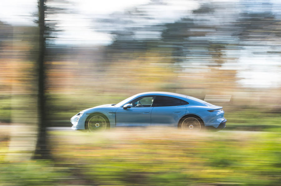 Porsche Taycan 4S 2020 UK first drive review - on the road side