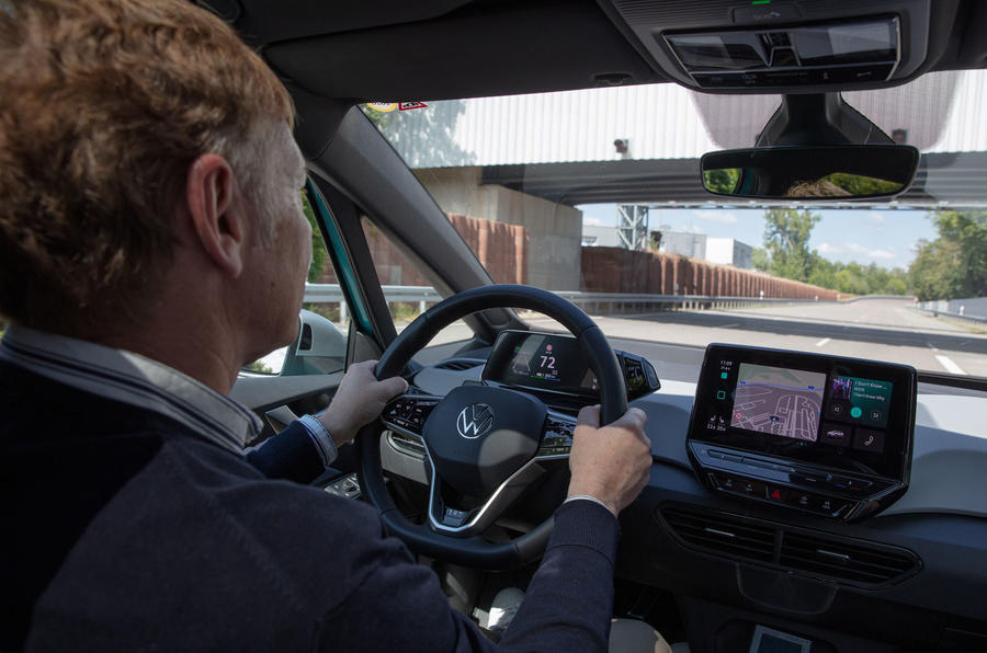 Volkswagen ID 3 2020 first drive review - hands on wheel