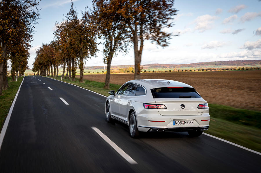 Volkswagen Arteon Shooting Brake eHybrid 2020 first drive review - on the road rear