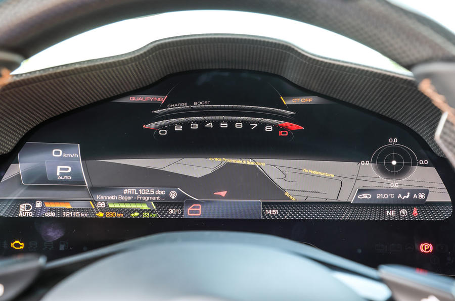 Ferrari SF90 Stradale 2020 first drive review - race mode cluster