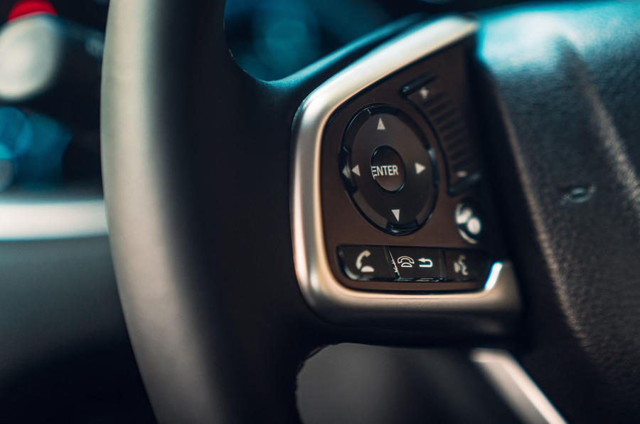Honda Civic saloon 2018 UK first drive review steering wheel buttons