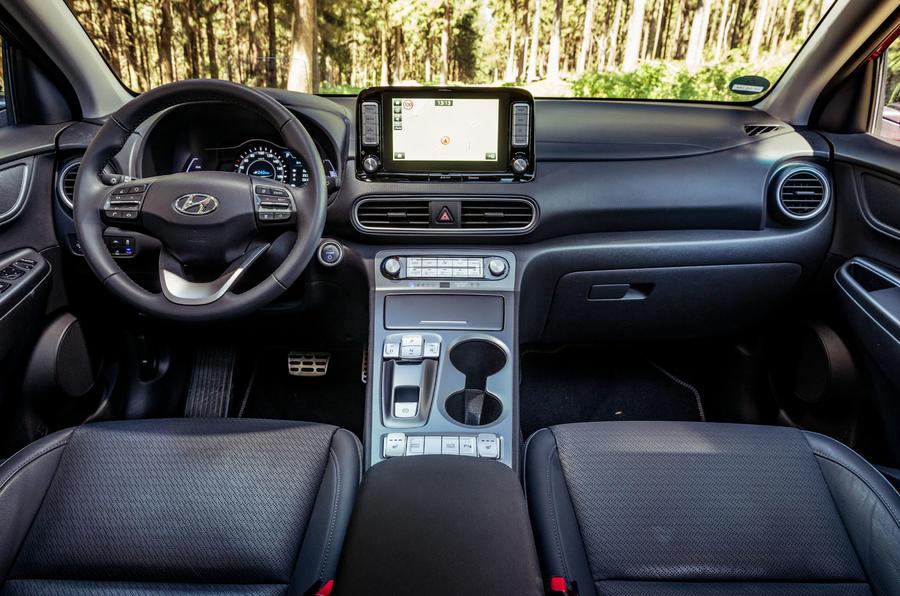 Hyundai Kona EV prototype drive 2018 dashboard